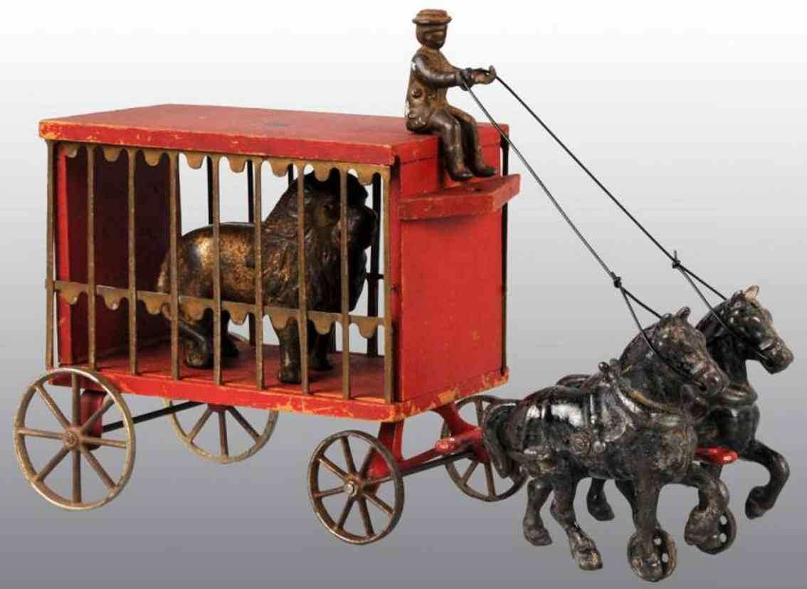 arcade cast iron toy circus cage wagon red lion two horses