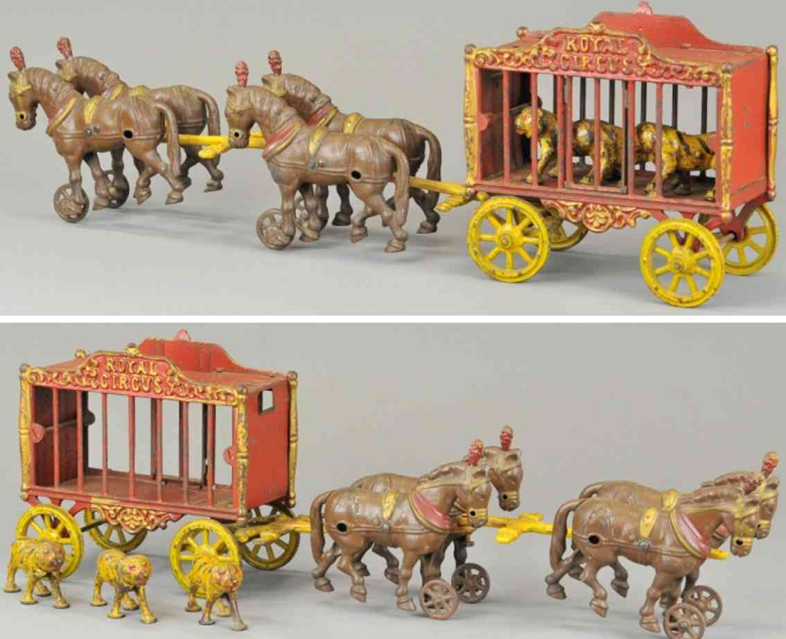 arcade gusseisen koeniglicher zirkuskaefigwagen vier pferde loewen