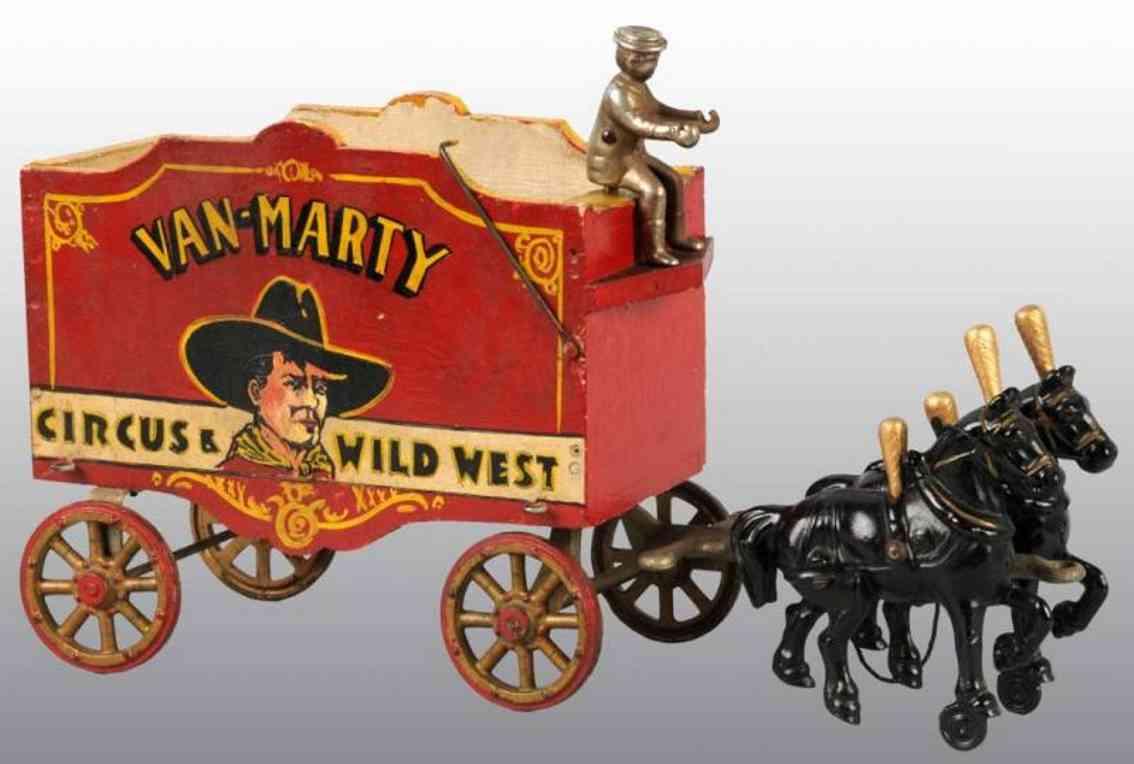 Arcade Van-Marty Zirkuswagen in rot aus Gußeisen und Holz mit 2 Pferden
