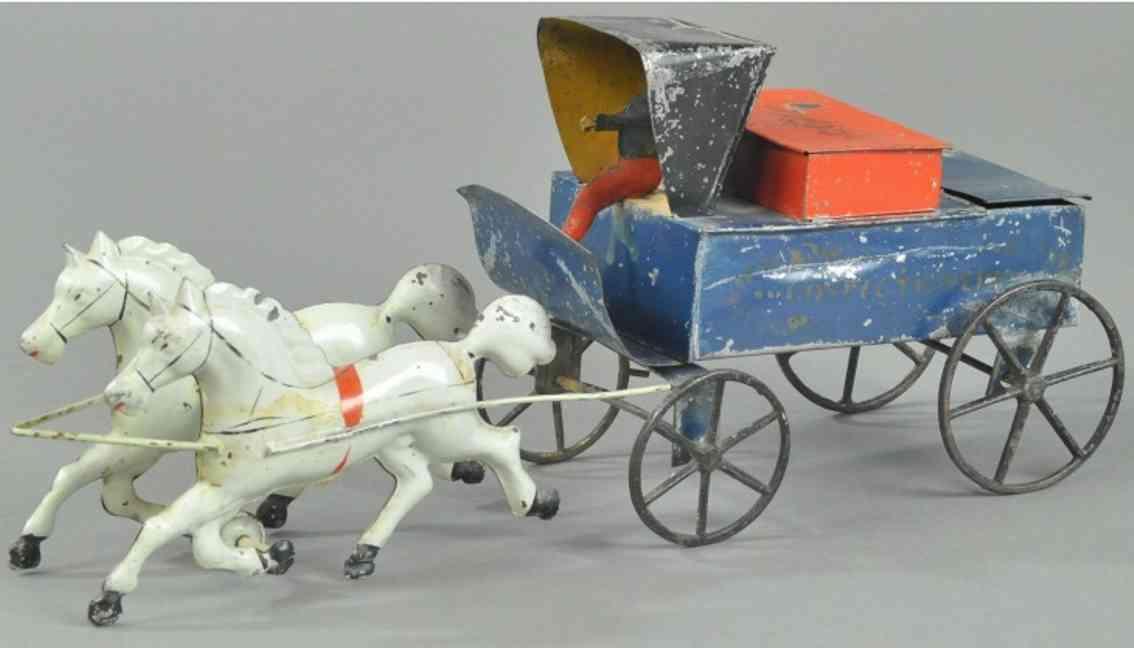brown george blech spielzeug kutsche suessigkeitenwagen zwei schimmel