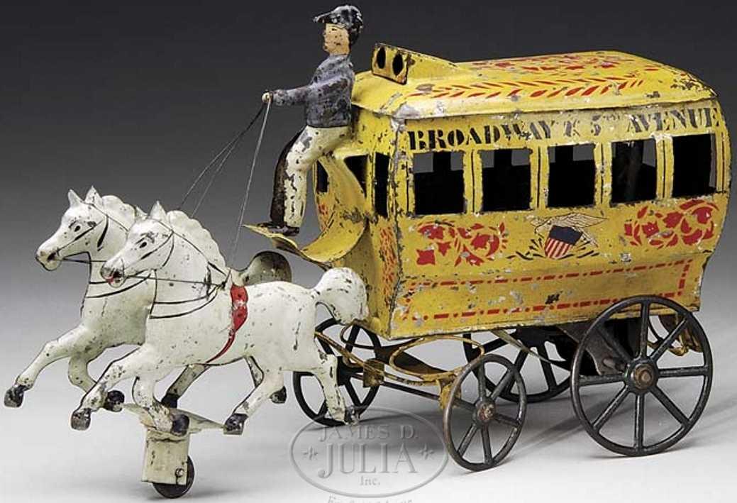 brown george blech spielzeug passagierkutsche zwei weisse pferde