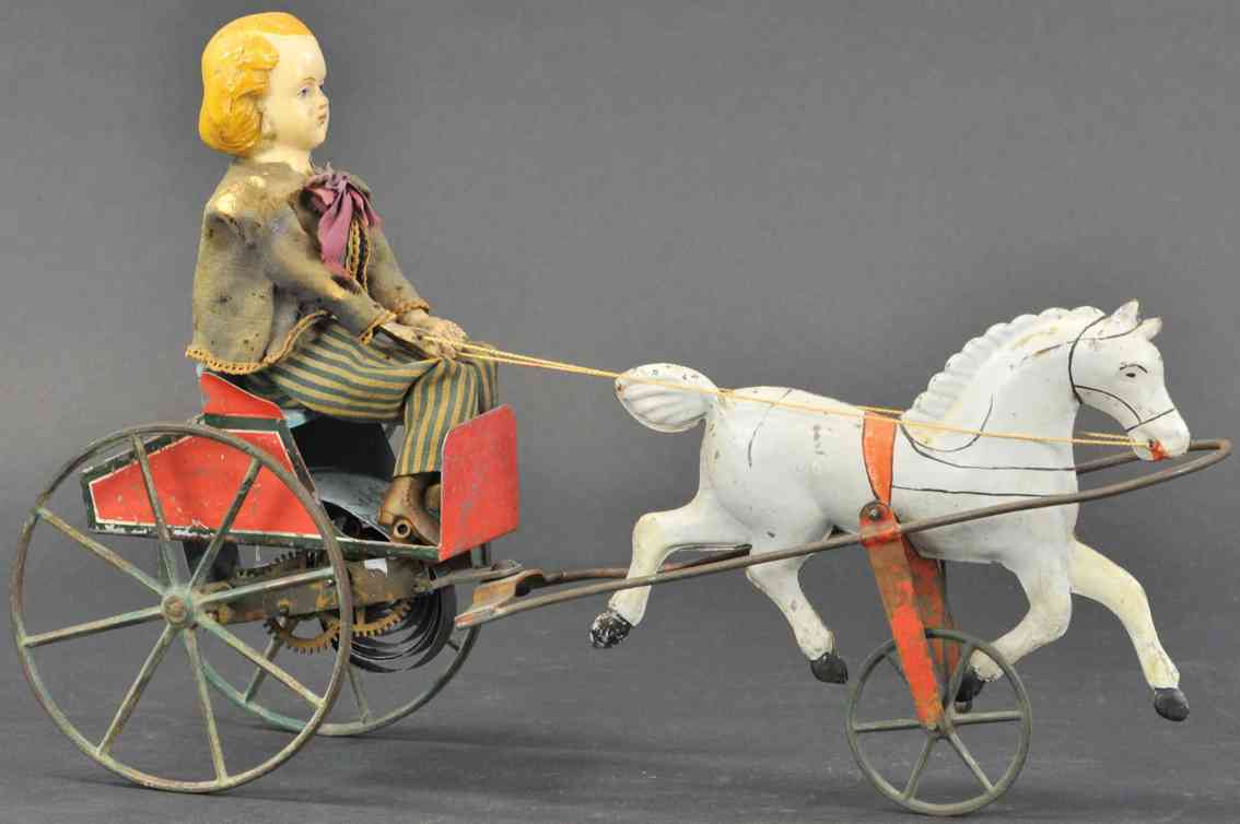 brown george  tin toy coach girl in cart single galloping horse