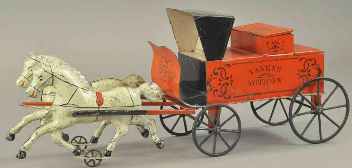 brown george tin toy yankee otions two white horse drawn cart