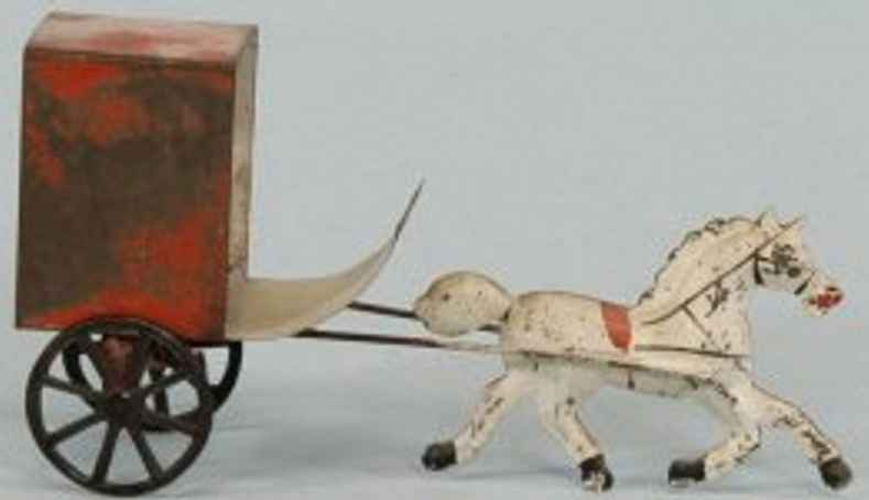 brown george tin toy amish cart one white horse