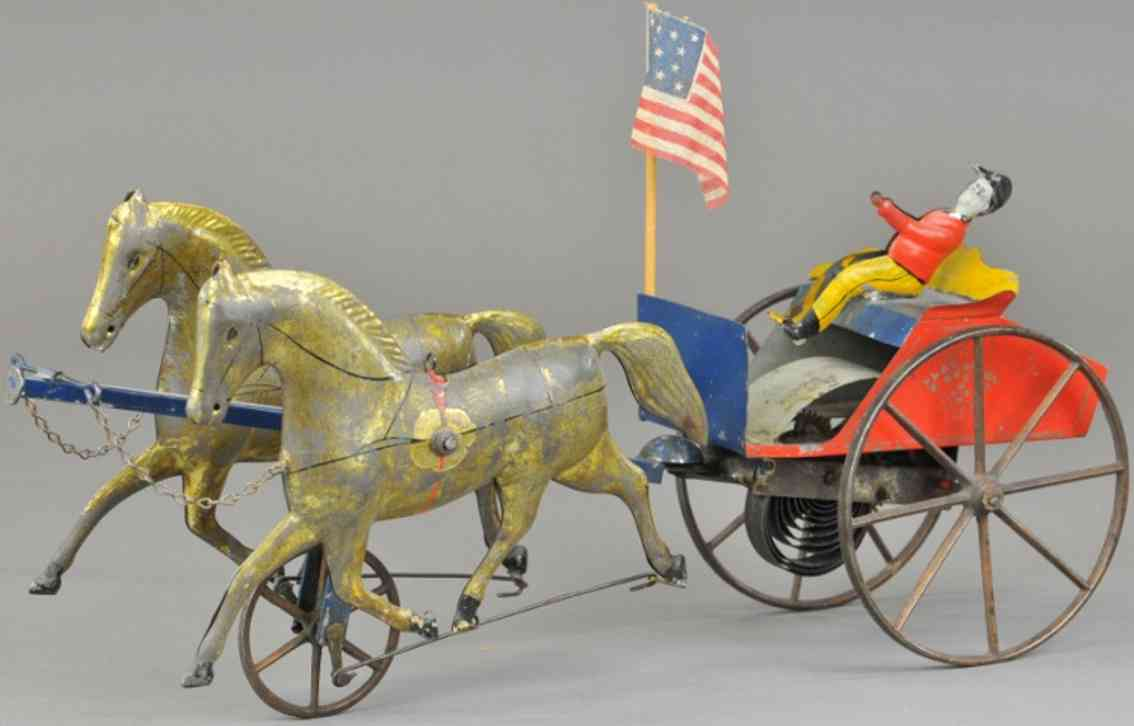 brown george tin toy two horses buggy driver