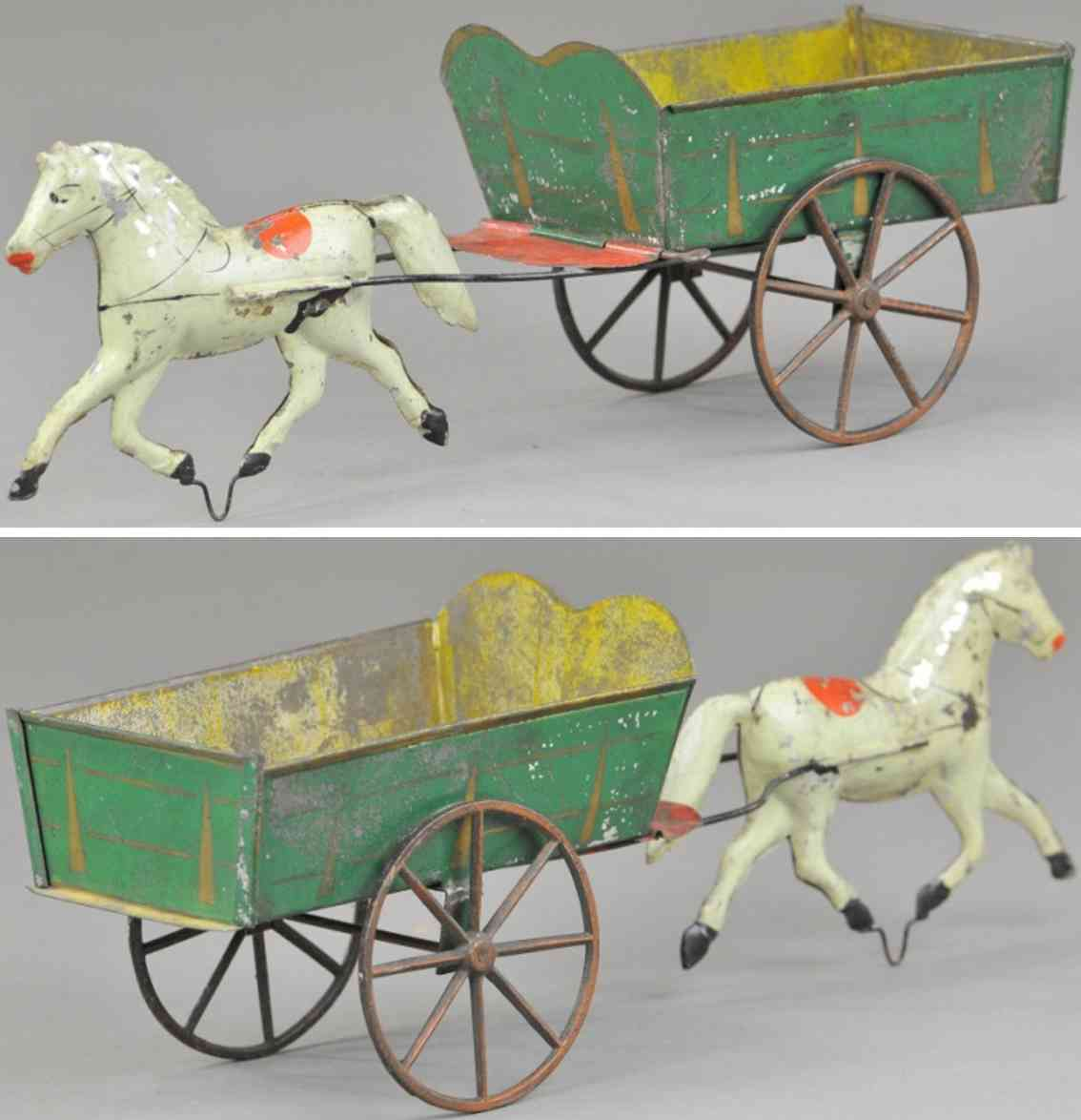 brown george tin toy one horse drawn dump cart