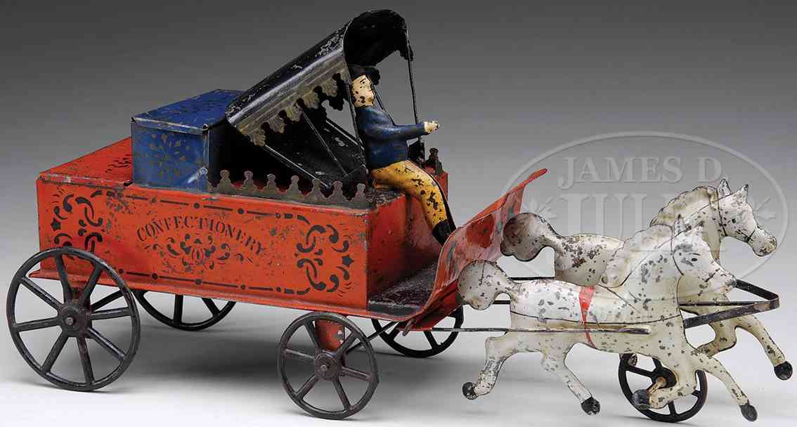 brown george tin toy confectionary wagon driver two white horses