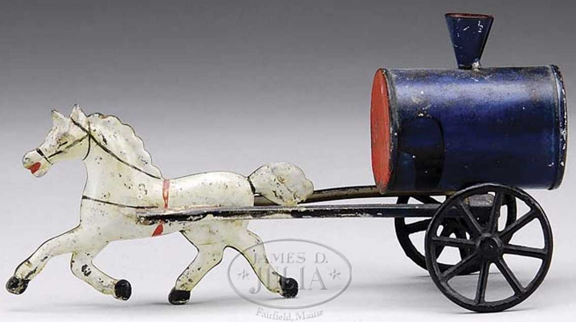 brown george tin toy coach diminutive water trow one white horse