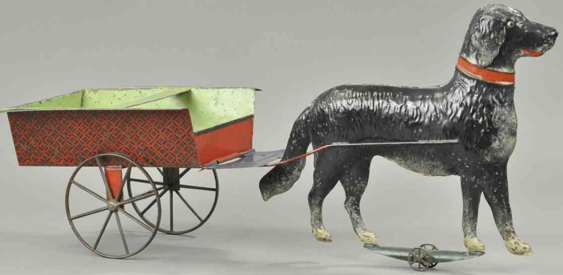 brown george blech spielzeug grosser hund mit karre