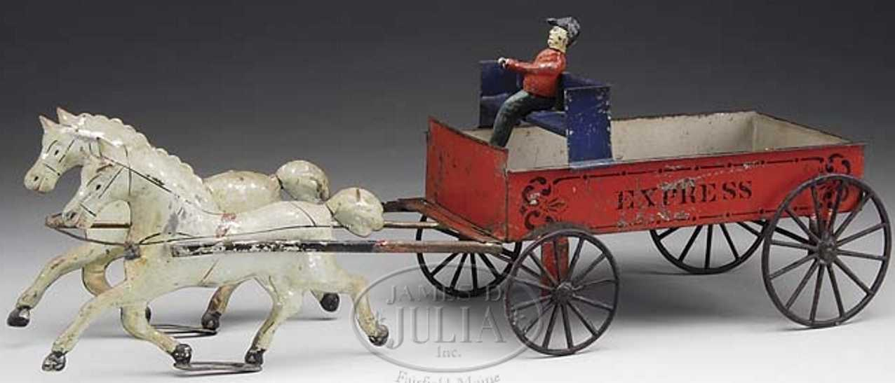brown george tin toy express wagon driver two white horses