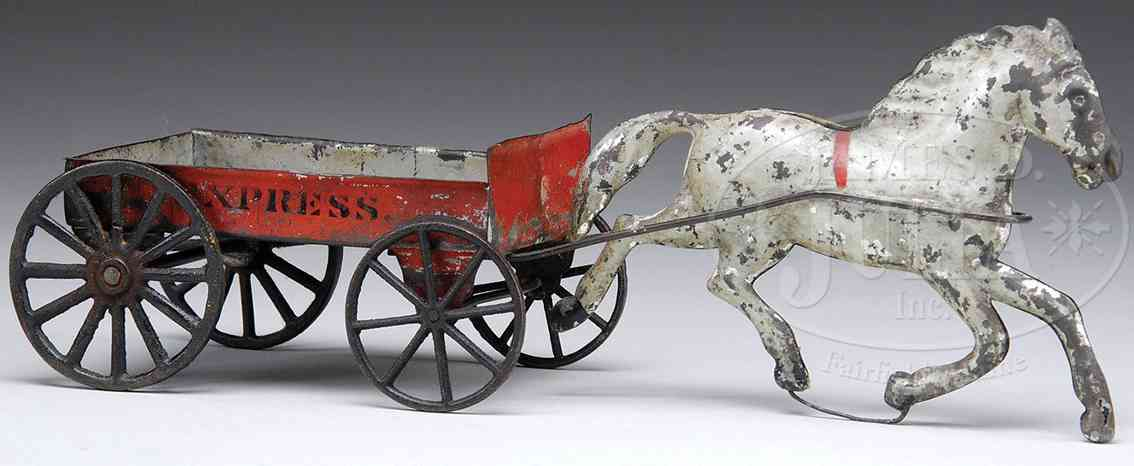 brown george tin toy express wagon one white horse