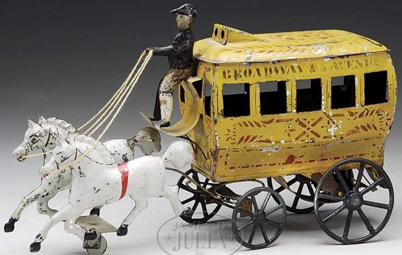 brown george blech spielzeug omnibus zwei weisse pferde