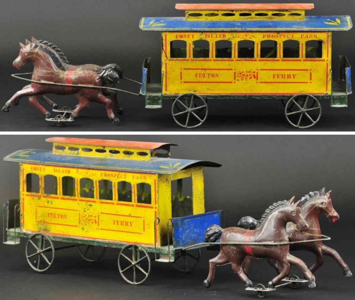 brown george blech spielzeug strassenbahnkutsche gelb zwei braune pferde