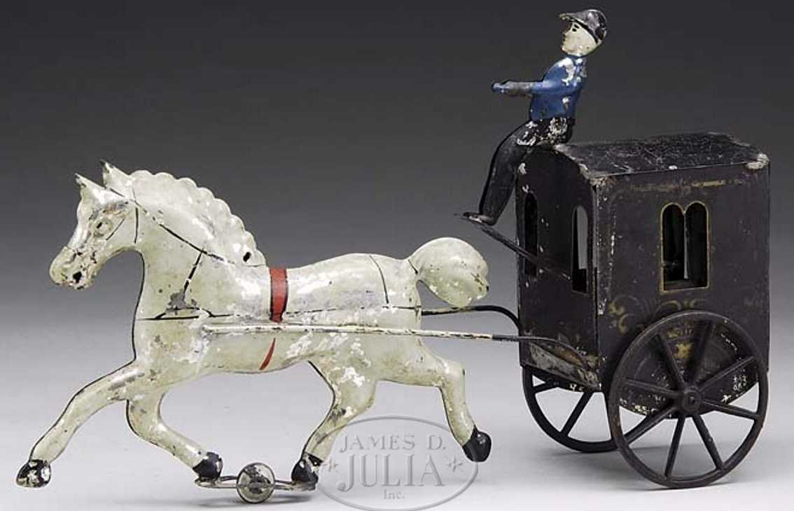 brown george tin toy white horse drawn cab driver