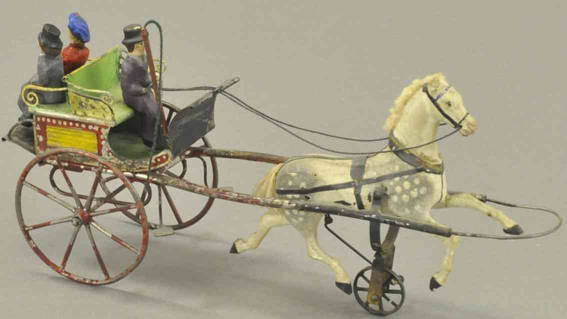 buchner tin toy coach horse drawn trap