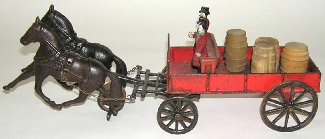 Carpenter Two horse drawn barrel wagon farm cart
