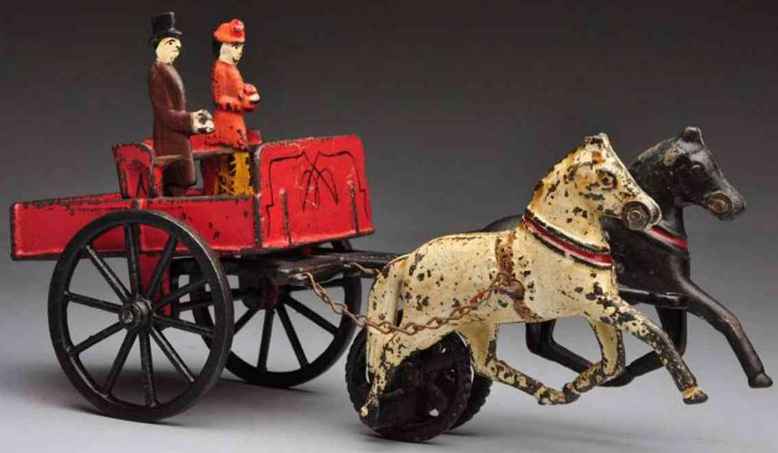carpenter cast iron toy depot wagon horse-drawn toy