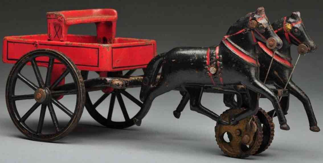 carpenter cast iron toy cast iron 2-wheel dumping cart two horses