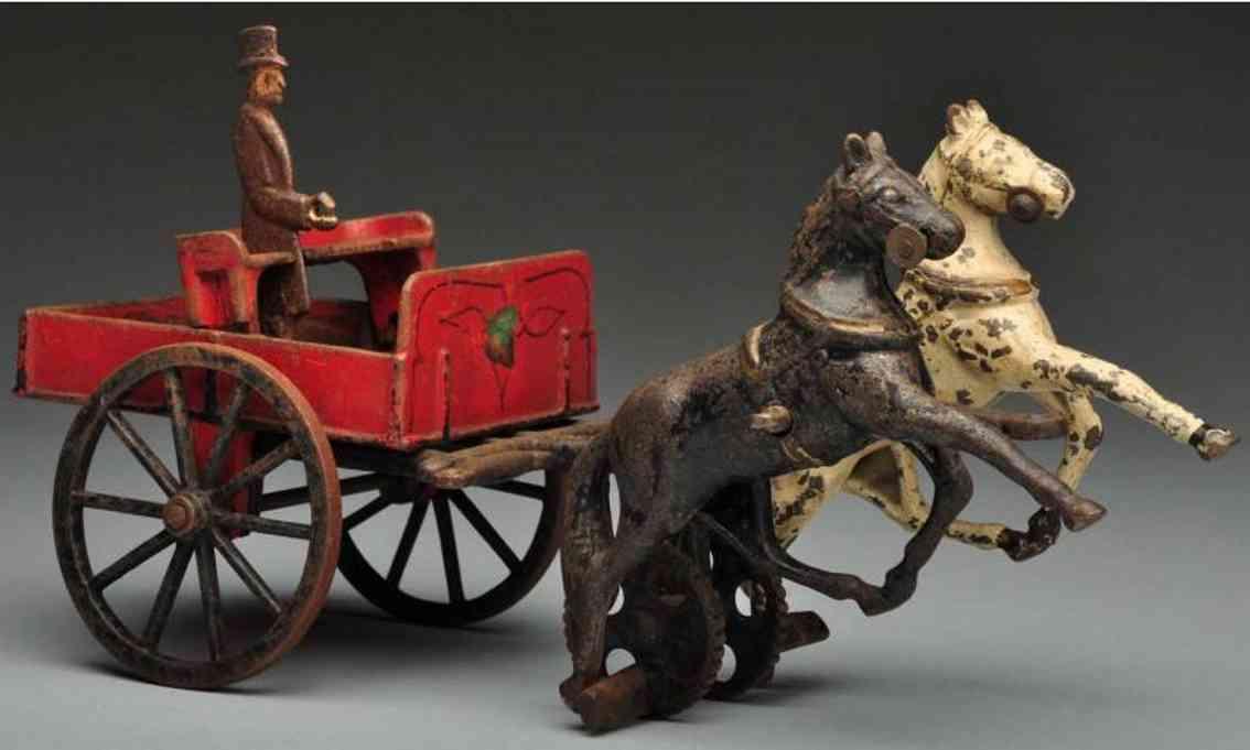 carpenter cast iron toy cast iron 2-horse dumping cart two horses
