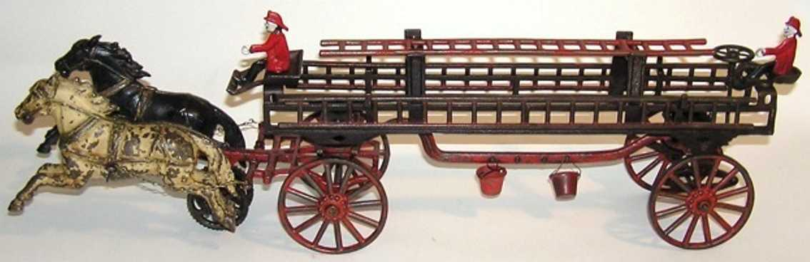 carpenter cast iron toy two horse drawn fire ladder wagon