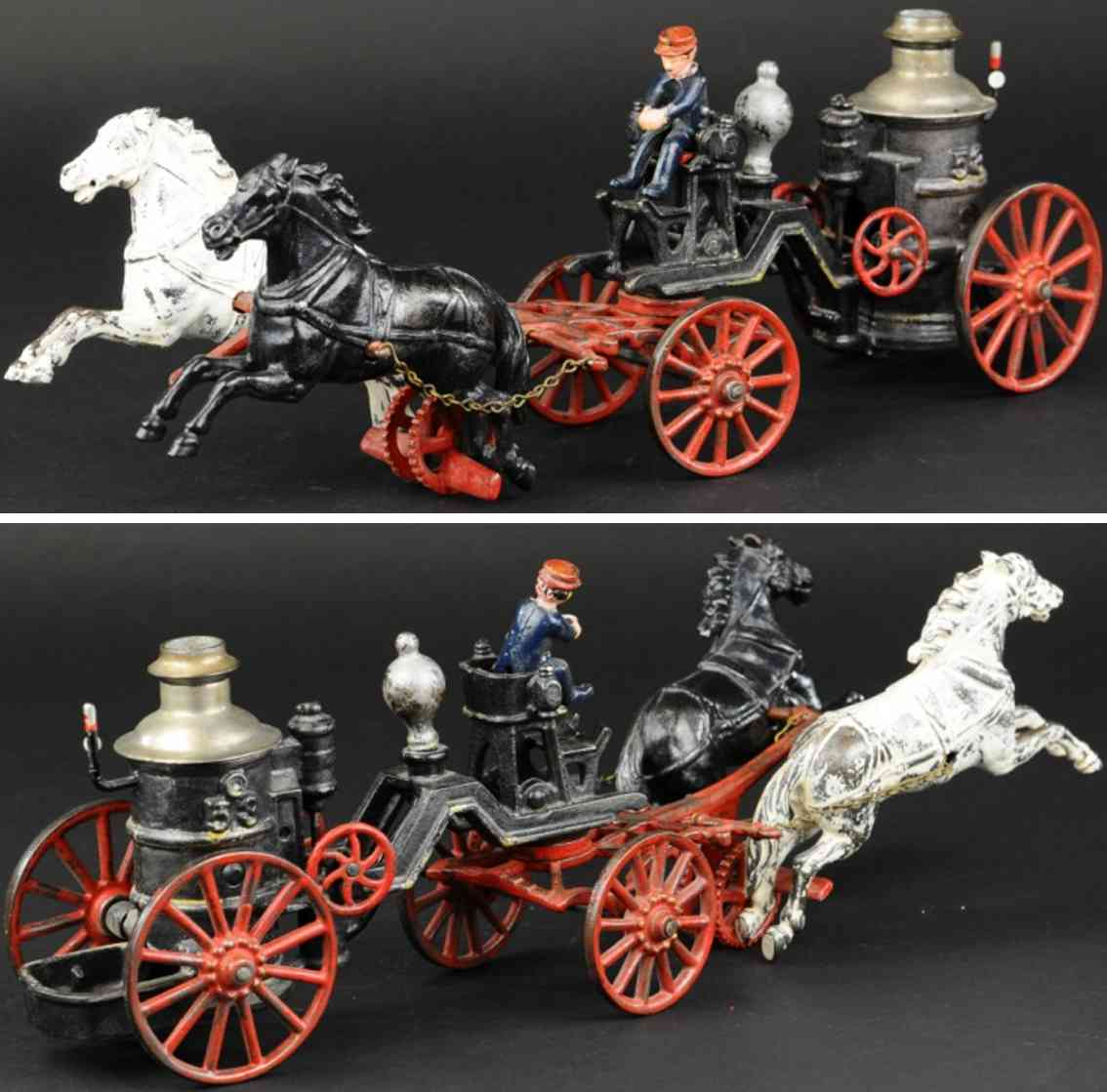 carpenter cast iron toy fire pumper
