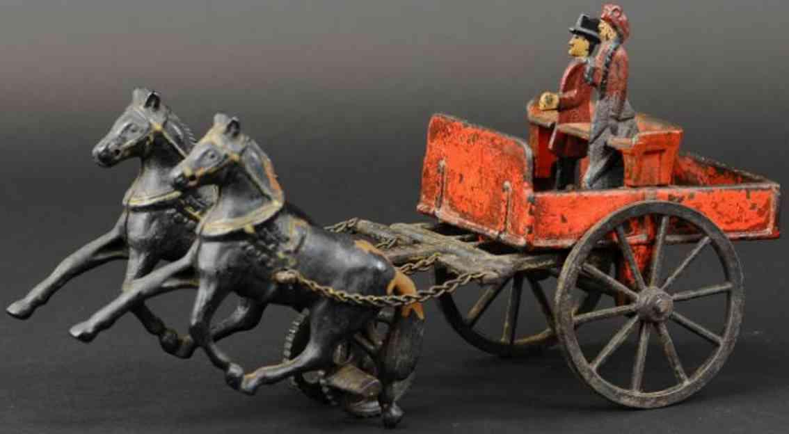 carpenter spielzeug gusseisen offene karre rot zwei schwarze pferde
