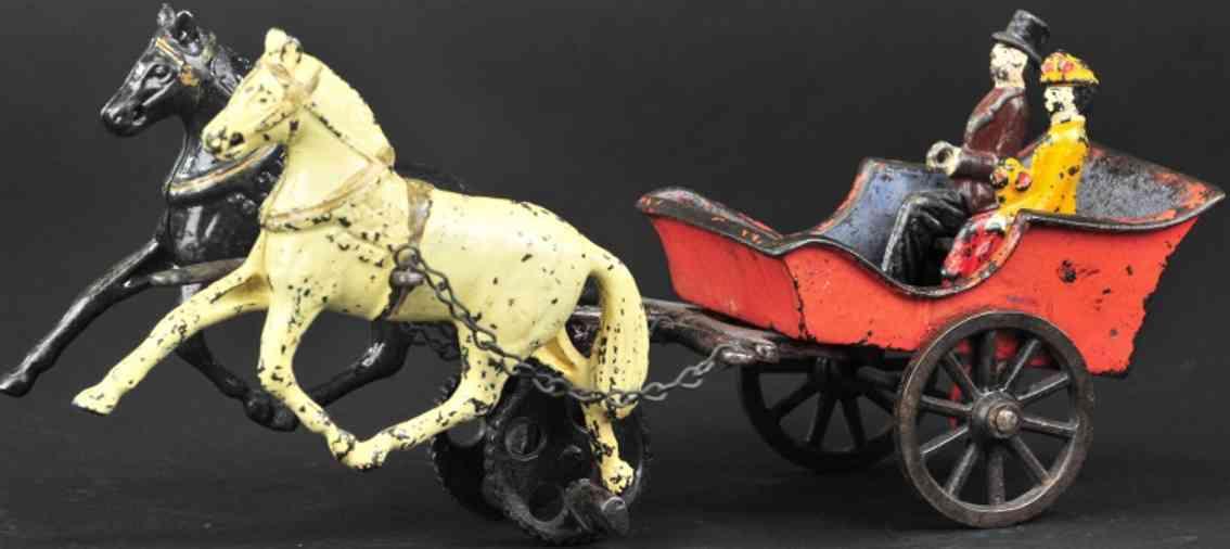 carpenter spielzeug gusseisen ausflugskutsche rot zwei pferde figuren