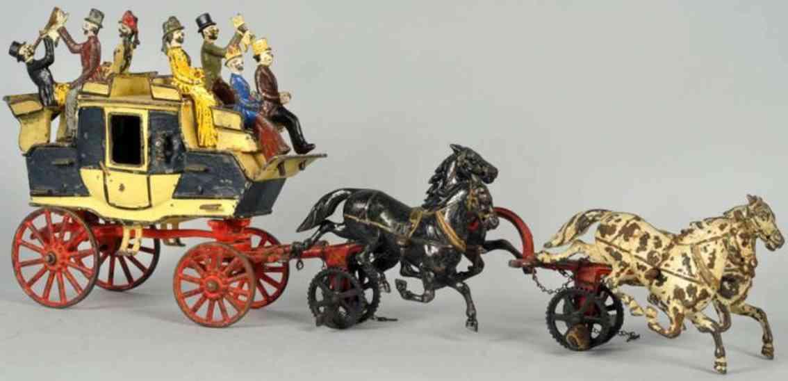 carpenter spielzeug gusseisen kutsche tally ho mit vier pferden und figuren