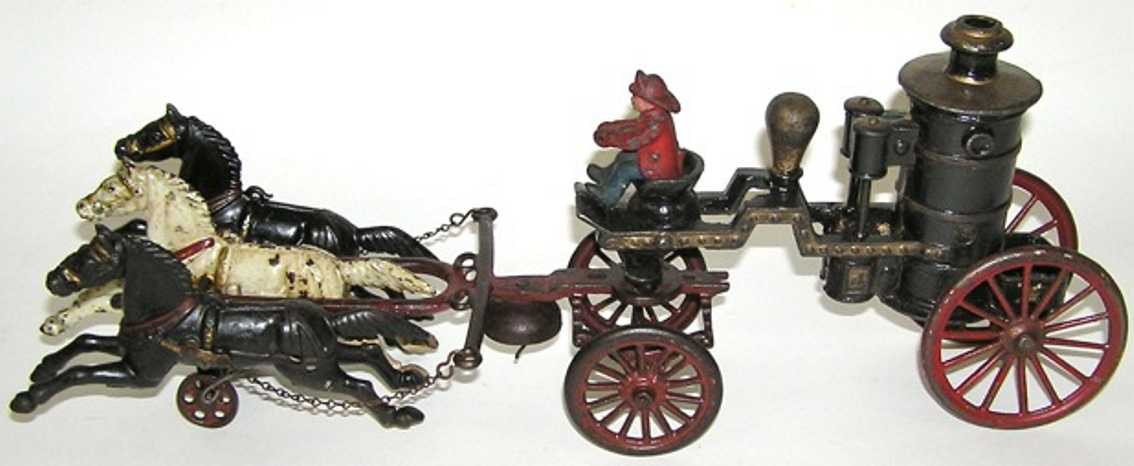 dent hardware co cast iron toy 3-horse fire pumper driver