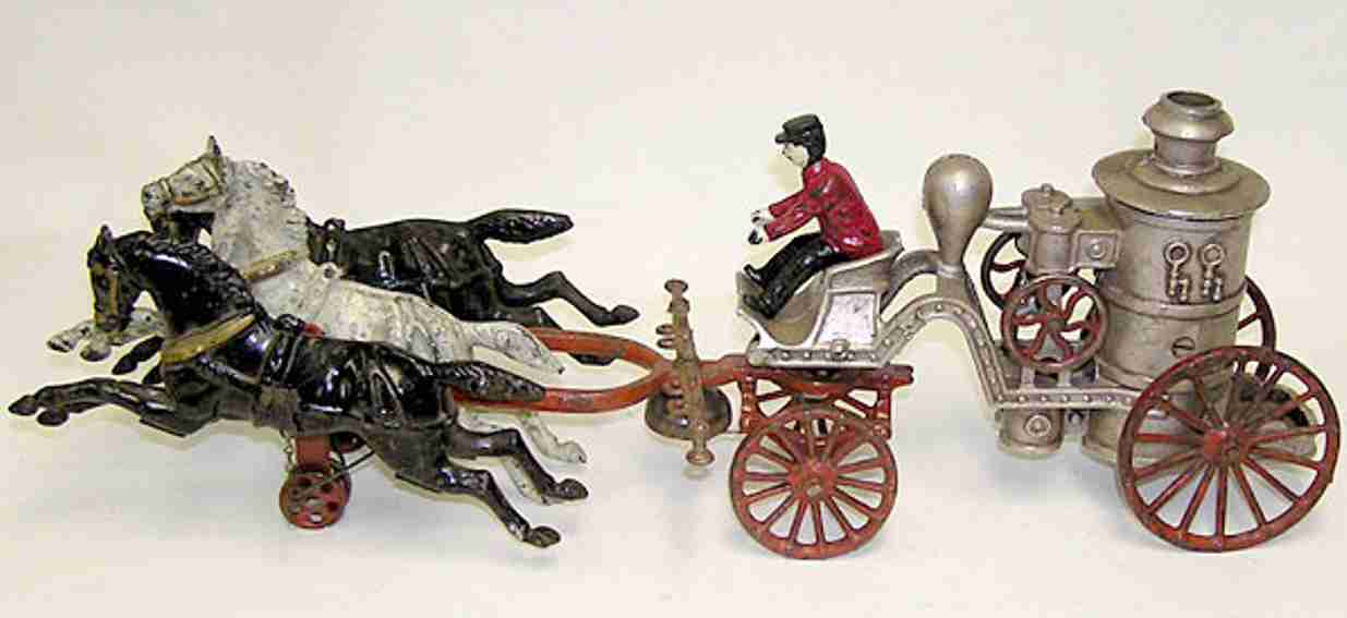 dent hardware co cast iron toy fire pumper with 3 horses