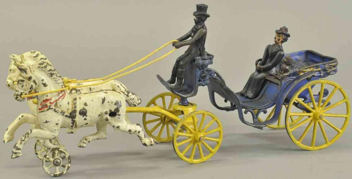 dent hardware co spielzeug gusseisen kutsche blau gelb zwei weisse pferde