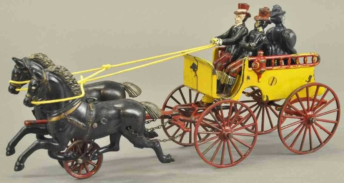 dent hardware co spielzeug gusseisen kutsche gelb rot zwei schwarze pferde