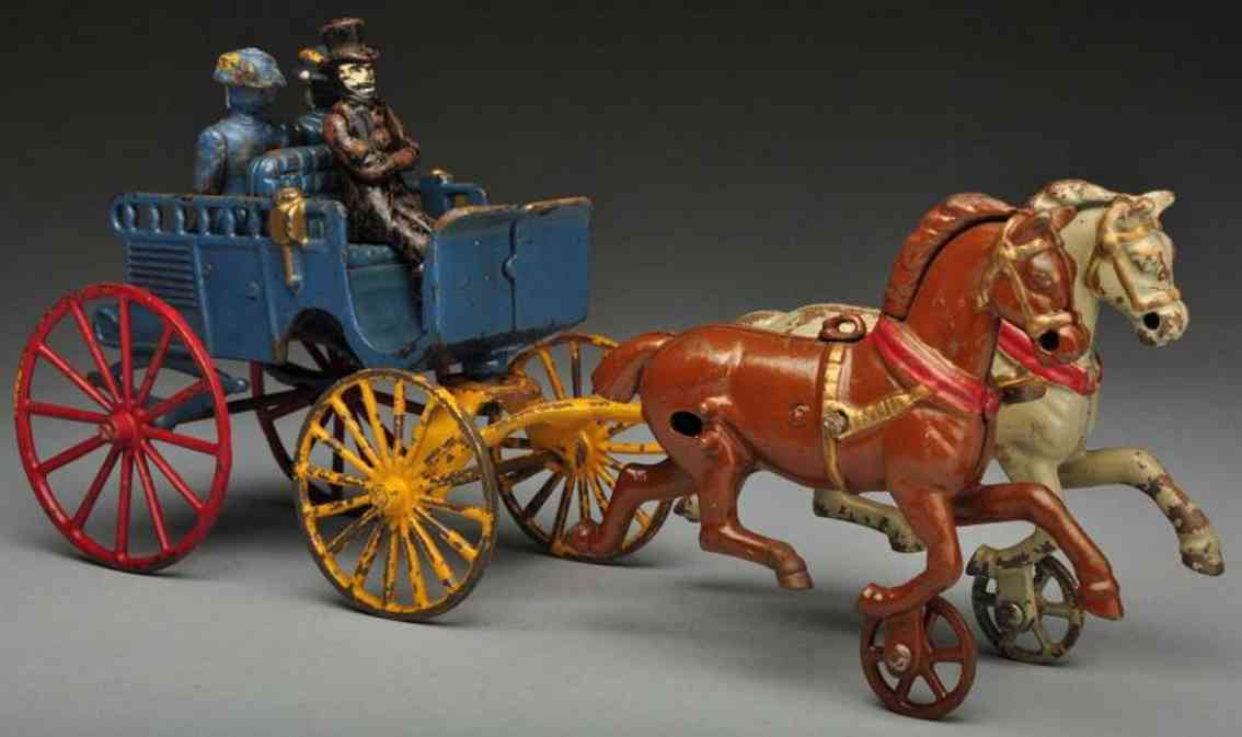 Dent Hardware Co Carriages Cast iron back-to-back trap horse-drawn toy