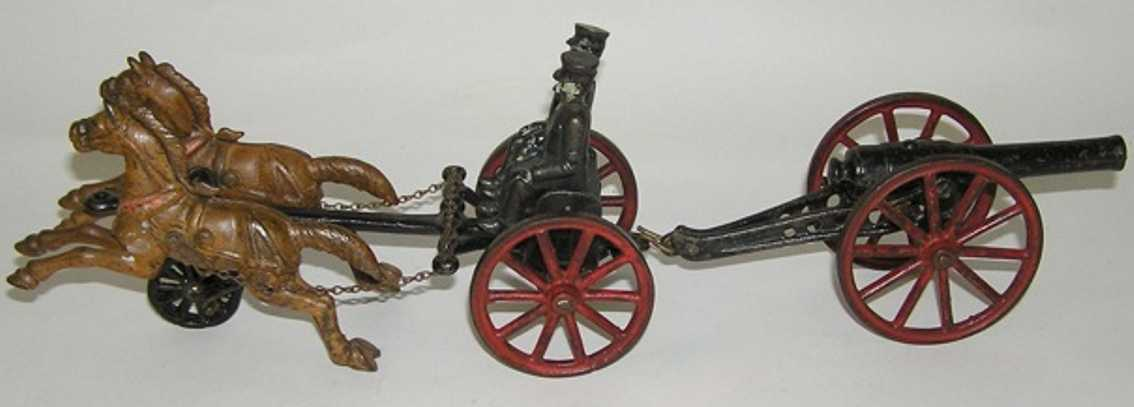Dent Hardware Co Caisson pulling cannon with two horses  and two figures