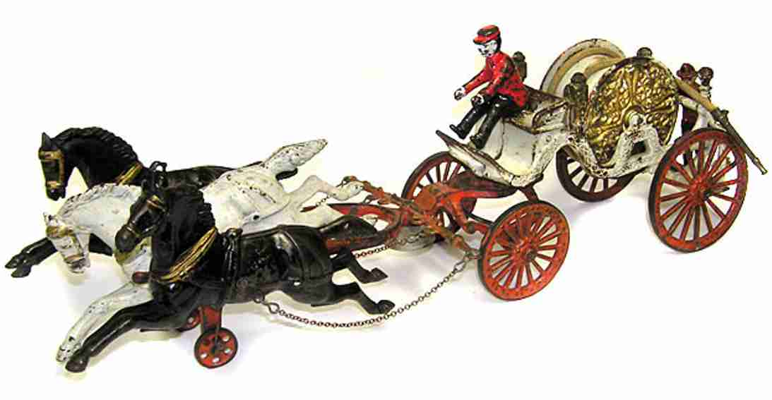 dent hardware co cast iron toy fire hose carriage 3 horses