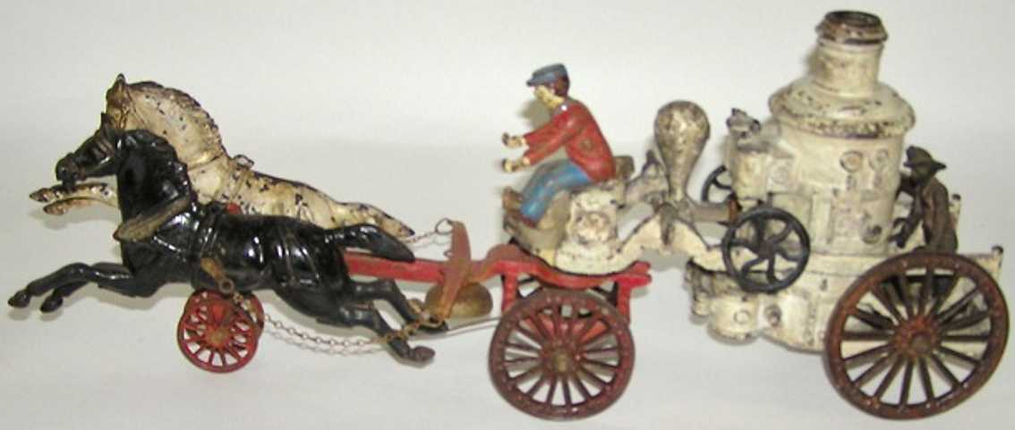 dent hardware co cast iron toy coach 2 horse drawn cast iron fire pumper