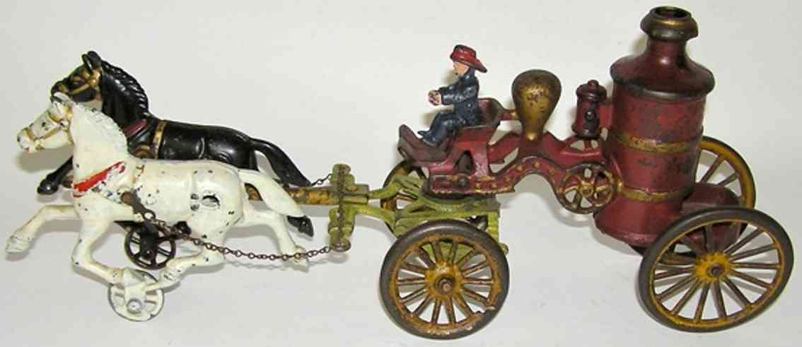dent hardware co cast iron toy 2-horse fire pumper