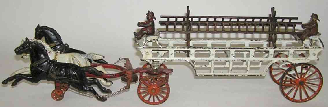 dent hardware co cast iron toy coach 3-horse fire ladder wagon