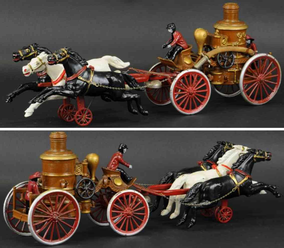 dent hardware co cast iron toy fire engine boiler three horses