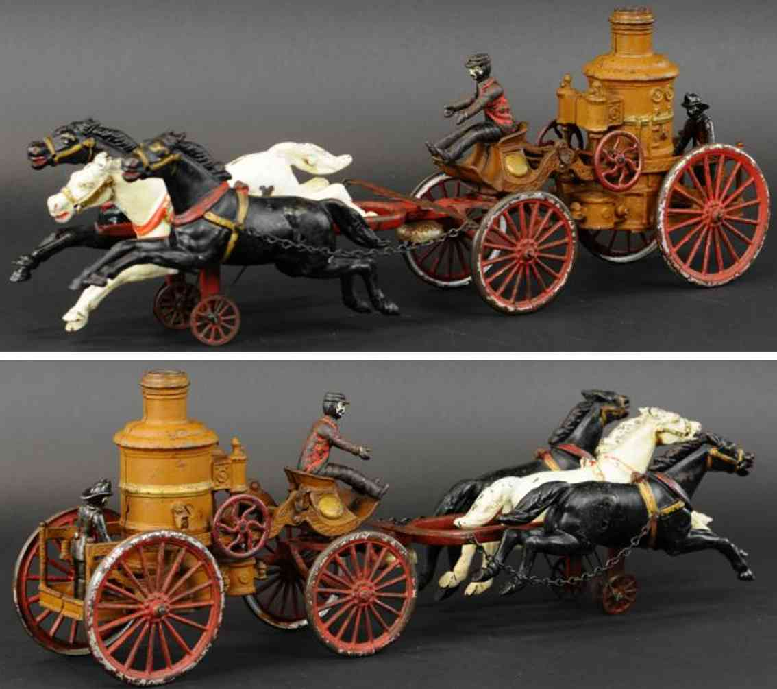dent hardware co cast iron toy oversize horse drawn fire pumper