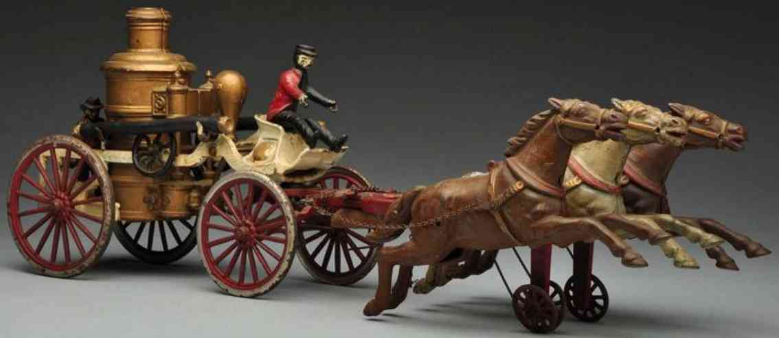 dent hardware co fire cast iron toy fire pumper horse-drawn toy