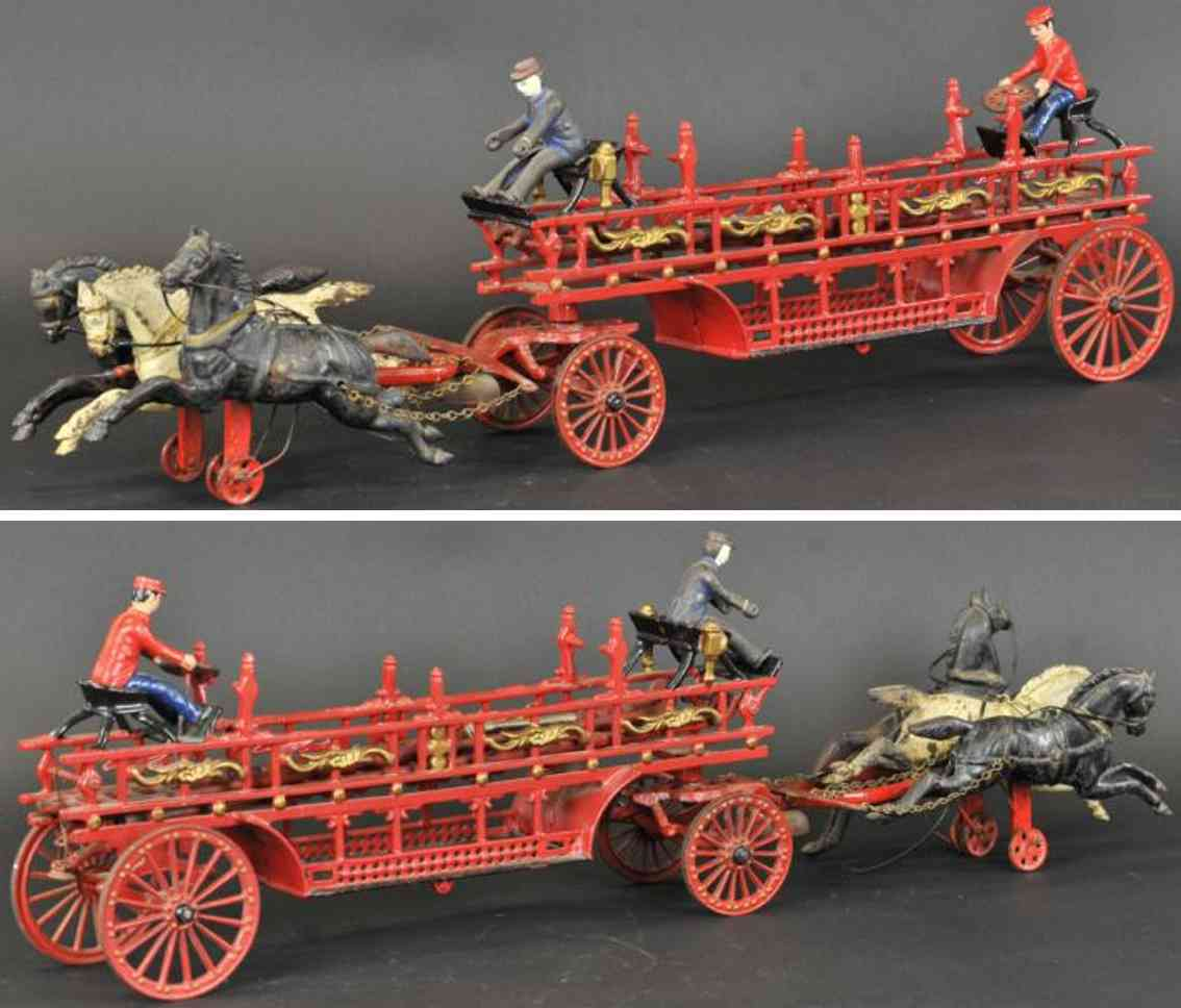 dent cast iron toy horse drawn hook ladder wagon three horses
