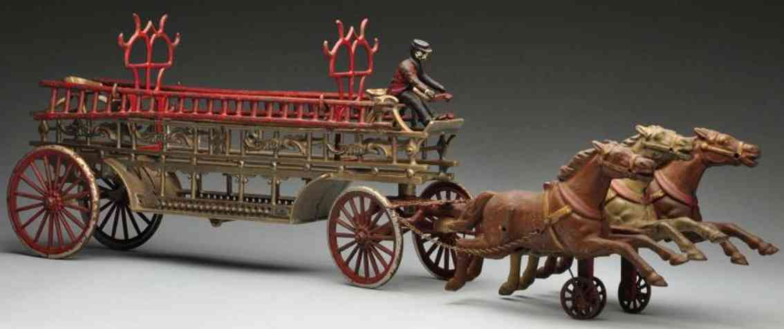 dent hardware co cast iron toy ladder truck horse-drawn