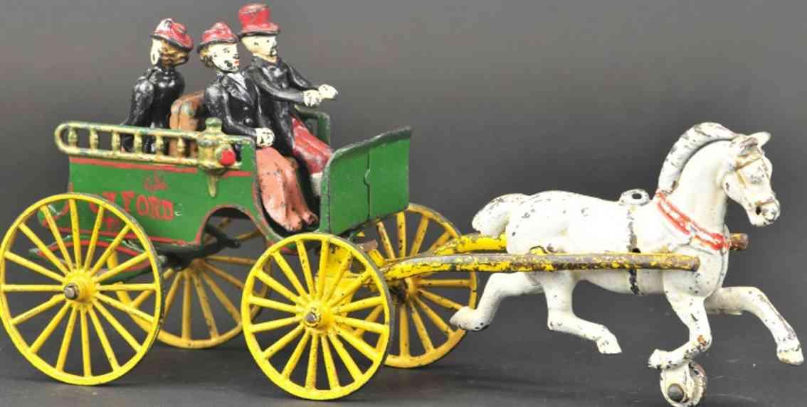 dent hardware co spielzeug gusseisen oxford pferdewagen drei figuren zwei pferde
