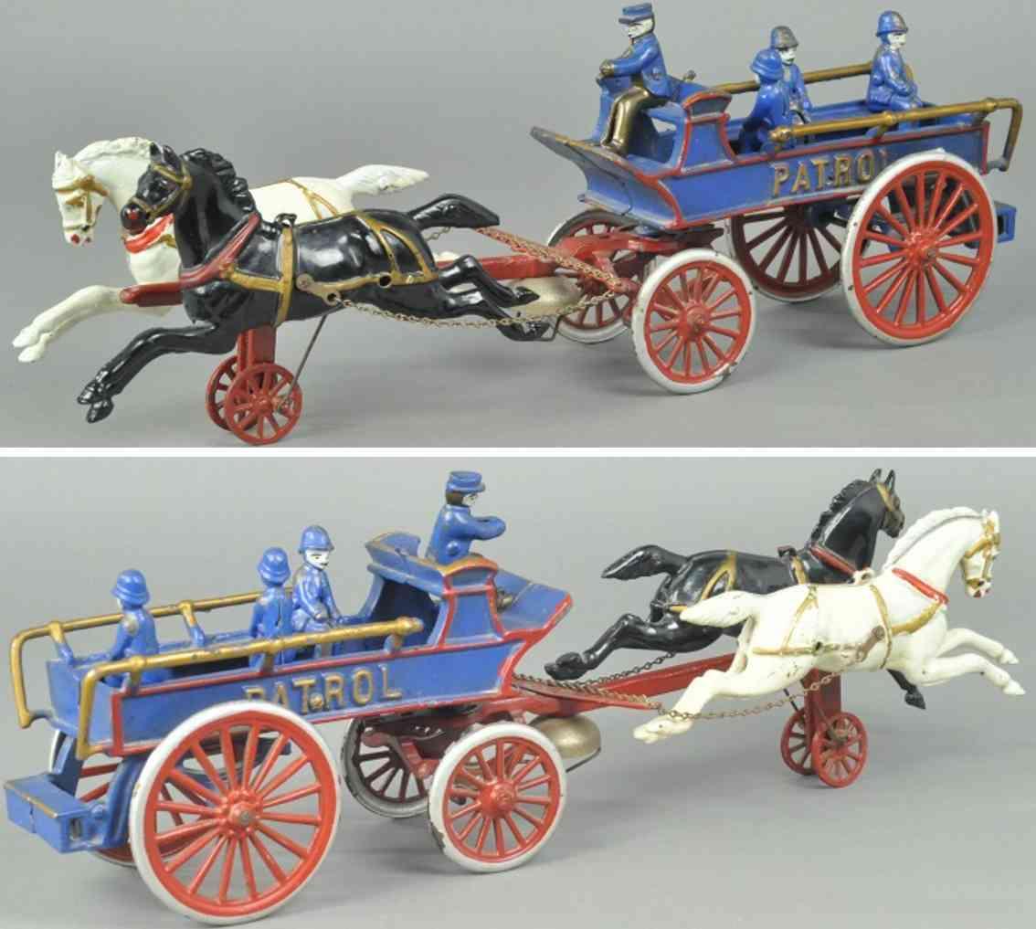dent hardware co spielzeug gusseisen patrouillenwagen blau zwei pferde