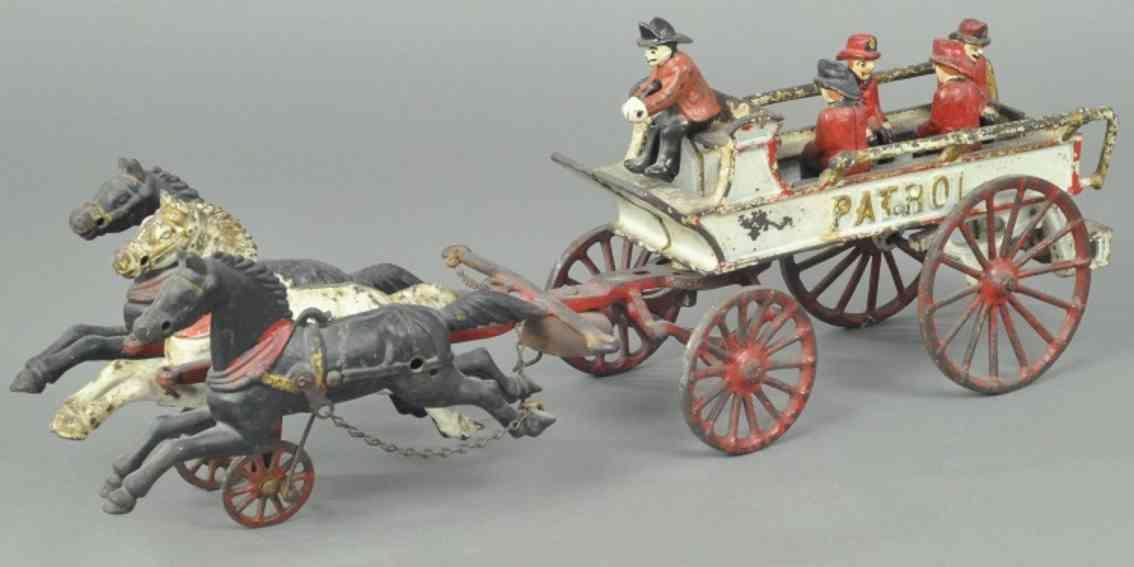 dent hardware co spielzeug gusseisen patrouillenwagen weiss drei pferde