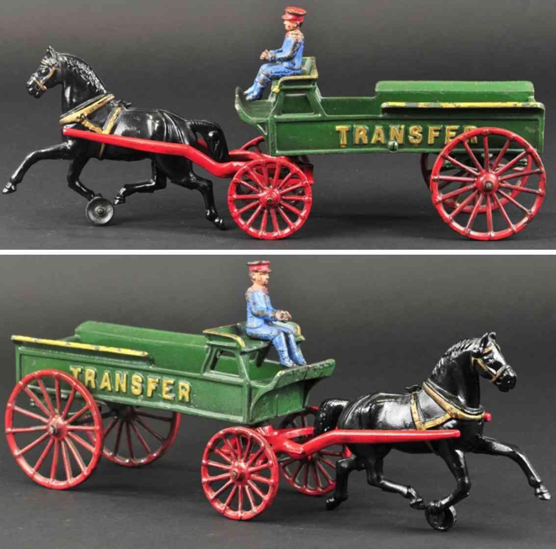 dent hardware co spielzeug gusseisen transportkutsche gruen fahrer ein pferd