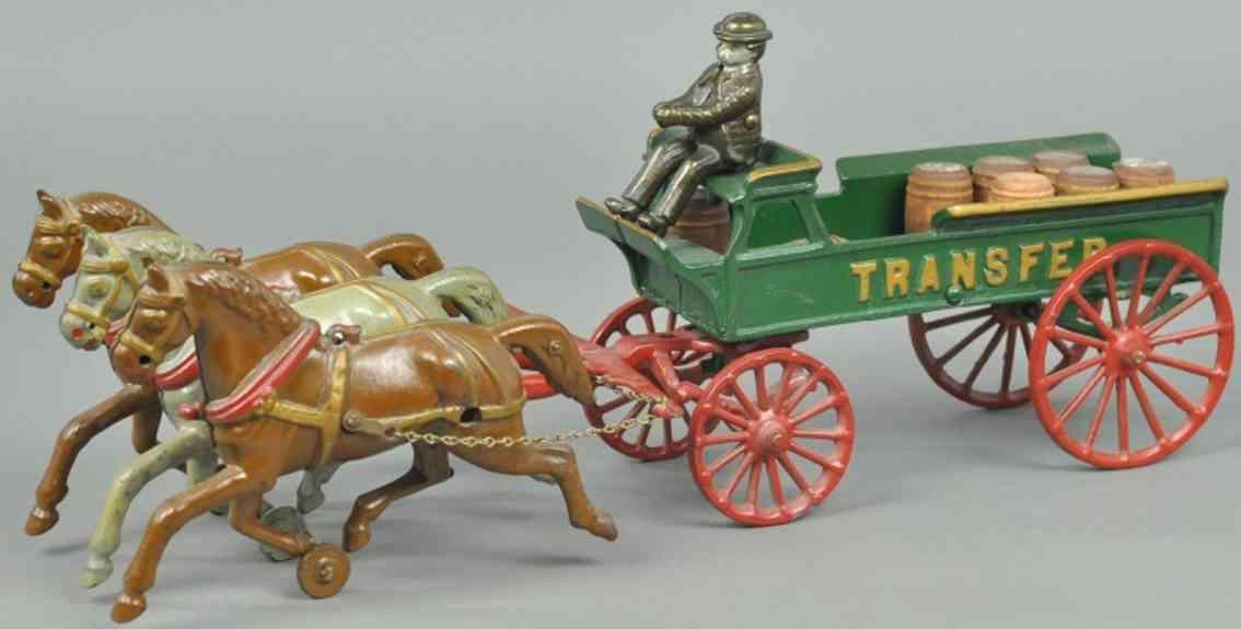 dent hardware co spielzeug gusseisen transportkutsche fahrer drei pferde