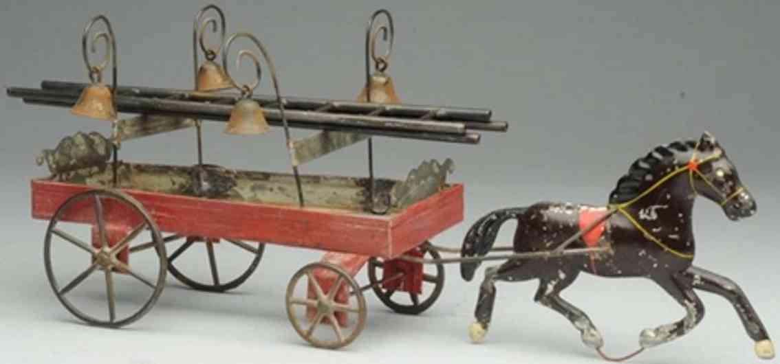 fallows tin toy one horse drawn ladder wagon four lights