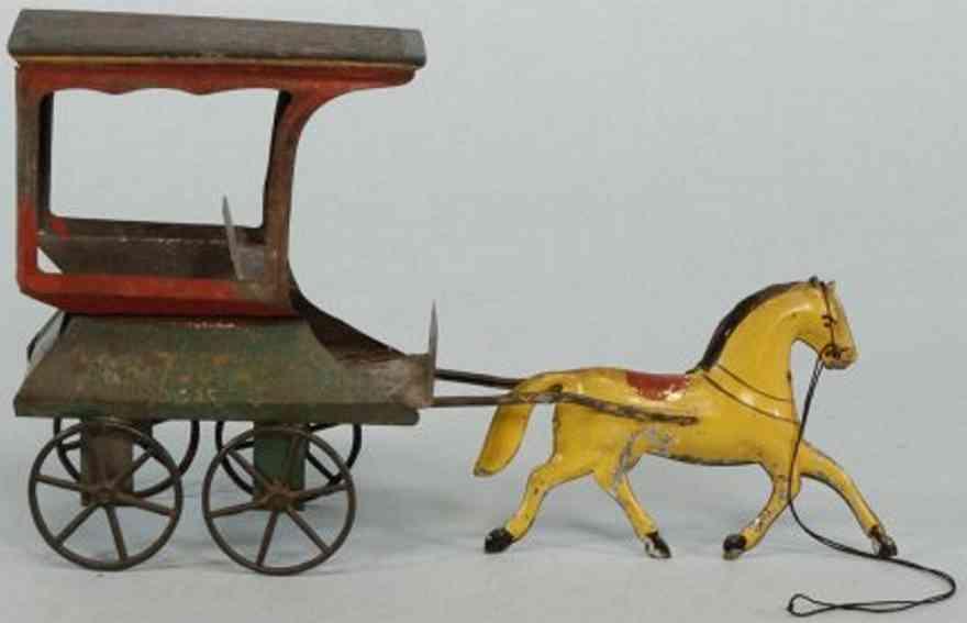 fallows blech spielzeug lieferkutsche pferde gelb